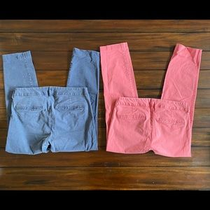 Old Navy Pixie Chinos (2) Navy & Coral Size 6 EUC